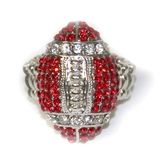 Husker Blingies Crystal Football Stretch Ring