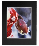 Husker Football Player Hold Matted Print
