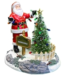Husker Santa Stringing Lights Figurine
