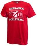 Huskers 5 National Champs Volleyball Tee