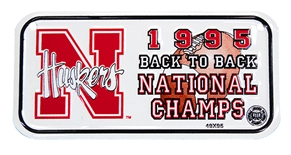 Huskers Back to Back Champs Biker Plate