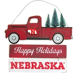Huskers Happy Holidays Door Sign