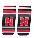 Huskers Striped No Show Socks