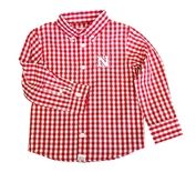 Huskers Tots Gingham LS Button Up