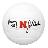 John Cook Autographed White Huskers Volleyball