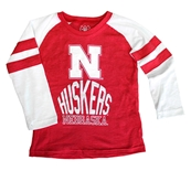 Kids Nebraska Huskers Cherry Stripe Raglan