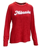 Ladies Chenille Cuddle Knit Nebraska Huskers Crew - Ruby