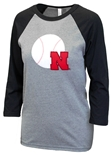 Ladies Husker Sparkle Baseball Patch Raglan