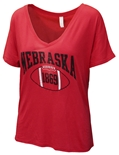 Ladies Nebraska 1869 Football V-Neck Tee