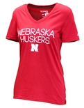 Ladies Nebraska Foil Dot Vneck
