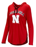 Ladies Nebraska Huskers LS Hooded Tee