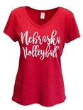 Ladies Nebraska Volleyball Serif VNeck