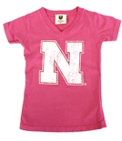 Nebraska Girls Red Line Glitter V-Neck