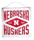 Nebraska Huskers Est. Diamond Tin Sign