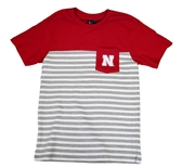 Nebraska Youth N Stripe Pocket Tee