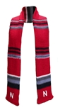 Nebraska Stripe Knit Scarf