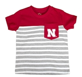 Nebraska Stripe Pocket Toddlers Tee