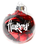 Nebraska Tinsel Ball Ornament