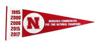 Nebraska Volleyball Pennant Five Time Champs
