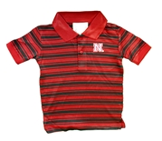Toddler Huskers Striped  Golf Shirt