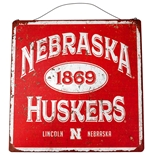 Vintage Nebraska 1869 Huskers Hanging Tin Sign