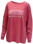 Ladies Huskers Outline LS Top
