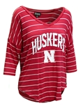 Womens Huskers Stripe V-neck Top