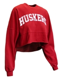 Womens Nebraska Cropped LS Spirit Tee