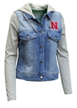 Womens Nebraska Denim Hoodie Jacket