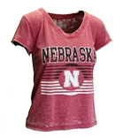 Womens Nebraska Fade Down Knot Back Tee