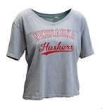 Womens Nebraska Huskers Dyed Football Tee