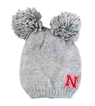 Womens Nebraska Leia Double Pom Knit