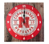 Nebraska Cornhuskers Old Fence Clock