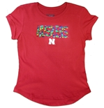 Youth Gals Huskers Rainbow Sequin Tee