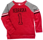 Youth Girls Nebraska 1 Double Axel Fleece Crew