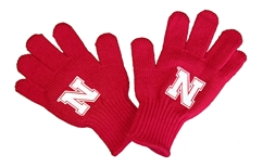 Youth Huskers Tailgate Knit Gloves