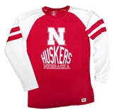 Youth Nebraska Huskers Cherry Stripe Raglan