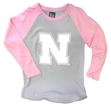 Youth Nebraska N Pink Sleeved Baseball Tee